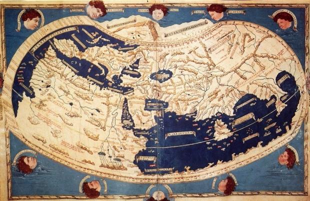 Carta del mondo per un'edizione del 1508 della Geografia di Tolomeo